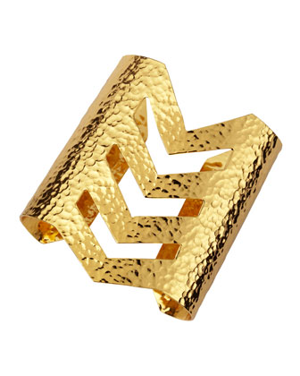 Hammered 22k Gold Chevron Cuff