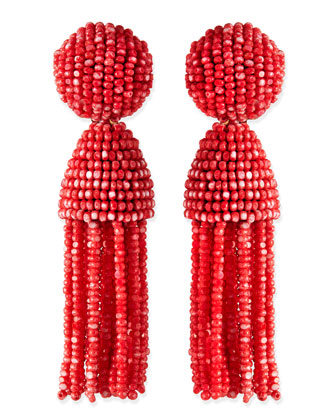 Short Dotted Beaded Tassel Clip-On Earrings, Sorbet
