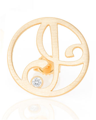 Right Singular Mini One-Initial Diamond Stud Earring, Yellow Gold