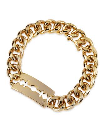 Chunk Chain Large Razor-Blade ID Bracelet, Golden