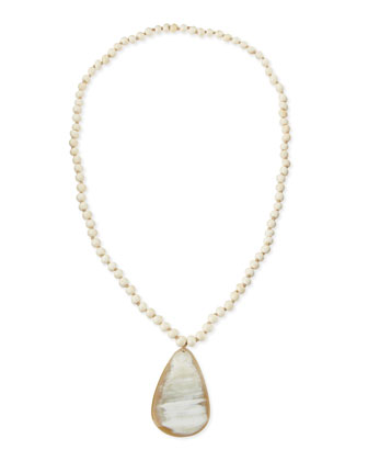 African Horn Teardrop Pendant Necklace