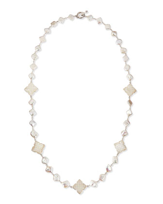 Long Pearl Necklace with Mother-of-Pearl Clovers, 30