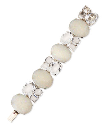 White Opal Mosaic Bracelet with Rock Crystals