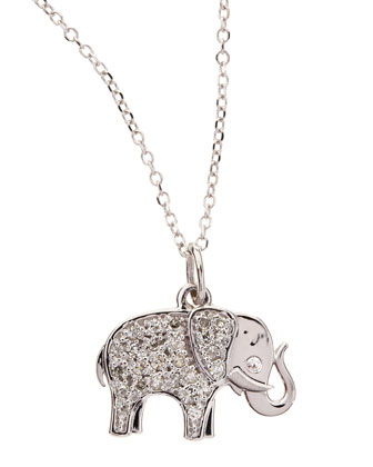 14k White Gold Diamond Elephant Pendant Necklace