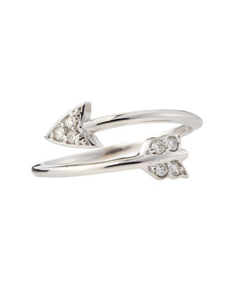 14k White Gold Diamond Arrow Ring