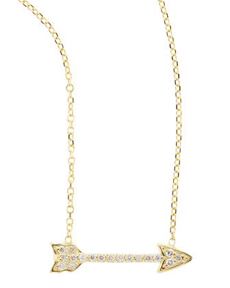 14k Yellow Gold Diamond Arrow Pendant Necklace