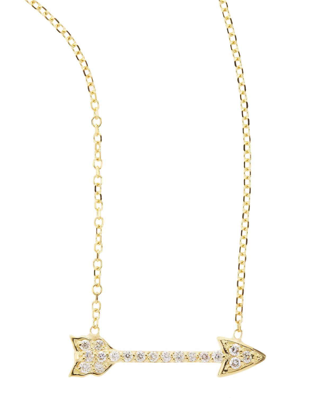 14k Yellow Gold Diamond Arrow Pendant Necklace   KC Designs   Gold (14k )