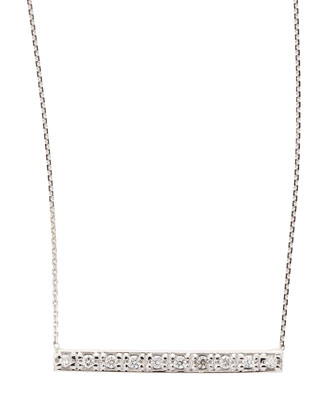 14k White Gold Diamond Bar Pendant Necklace