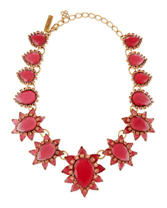 Bold Pear Shaped Resin Crystal Necklace, Pink