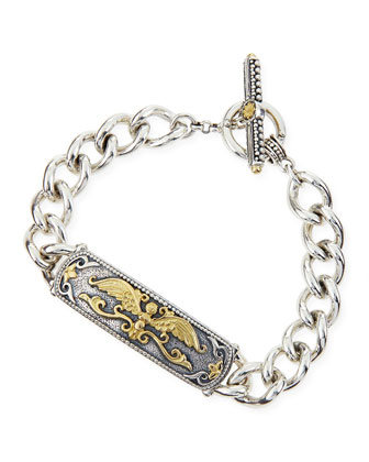 Silver & 18k Gold Wings ID Bracelet