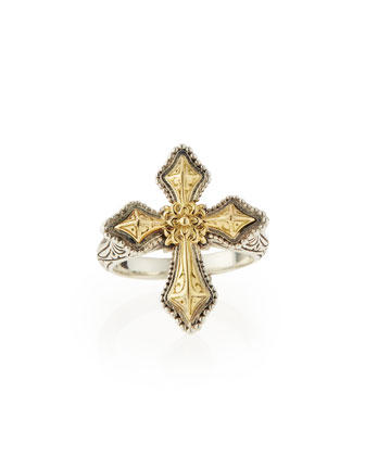 Engraved Sterling Silver & Gold Cross Ring