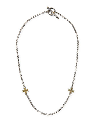 Gold Cross Station Necklace