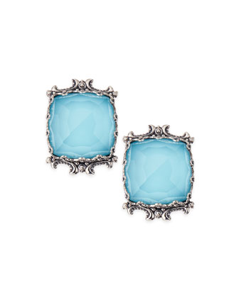 Turquoise & Rock Crystal Doublet Stud Earrings