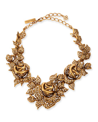Carved Golden Rose Necklace
