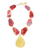 Porous Gold Plated Teardrop & Pink Agate Necklace