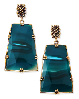 Blue Agate Trapezoid Earrings