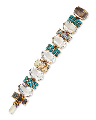 Multi-Stone Bracelet, Blue/Clear