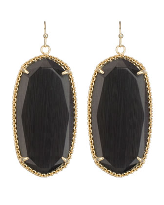 Deily Drop Earrings, Black Cat's Eye