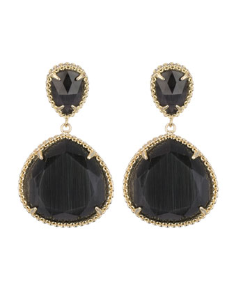 Penny Post Earrings, Black Cat's Eye