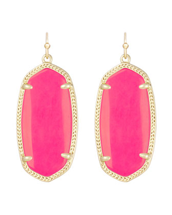 Elle Earrings, Neon Coral