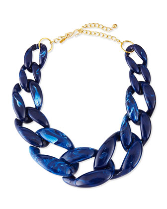 Marbled Enamel Link Necklace, Lapis Blue