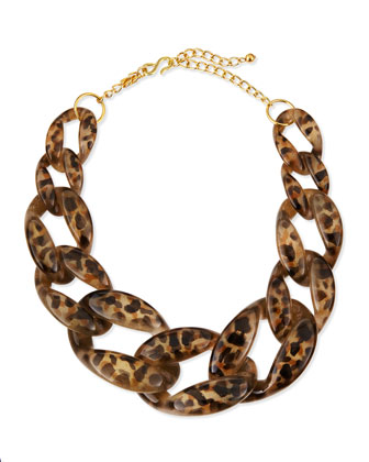 Leopard-Print Enamel Link Necklace