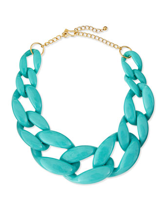 Enamel Link Necklace, Turquoise