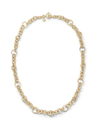 Pave Link Necklace, Golden