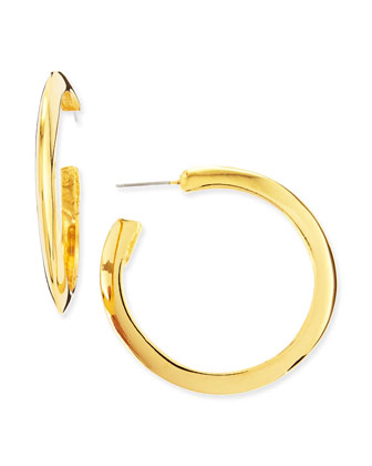 22k Gold-Plated Polished Large Hoop Earrings
