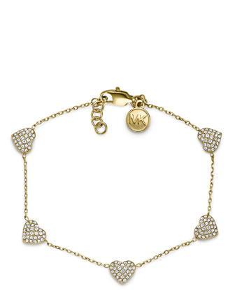 Pave Heart Bracelet, Golden