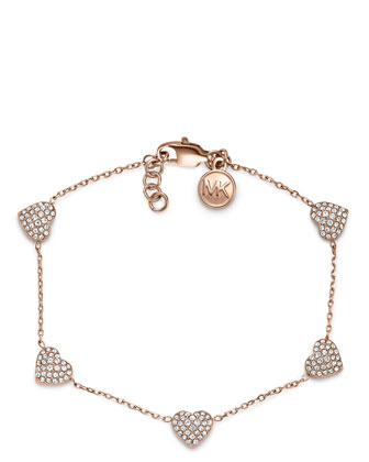 Pave Heart Bracelet, Rose Golden