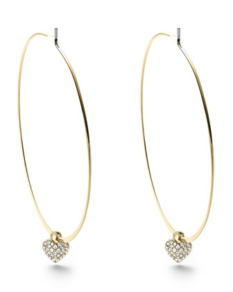 Heart Charm Hoop Earrings, Golden
