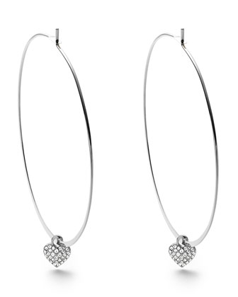 Heart Charm Hoop Earrings, Silver Color