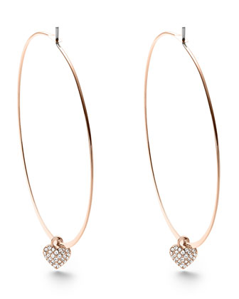 Heart-Charm Hoop Earrings, Rose Golden