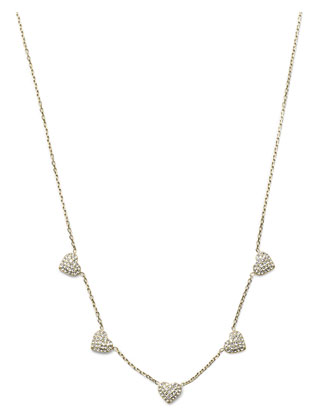 Pave Heart Charm Necklace, Golden