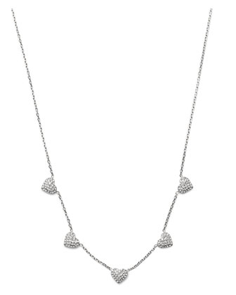 Pave Heart Charm Necklace, Silver Color
