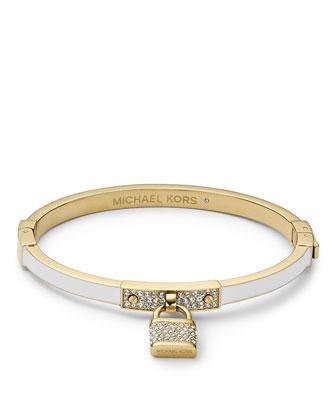 Pave Padlock Hinge Bracelet, Golden/White