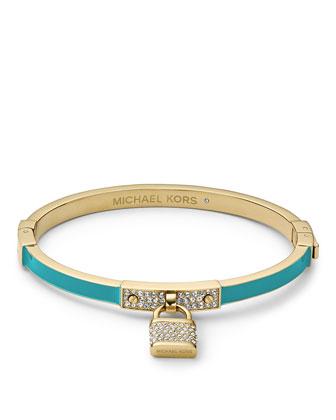 Pave Padlock Hinge Bracelet, Golden/Turquoise