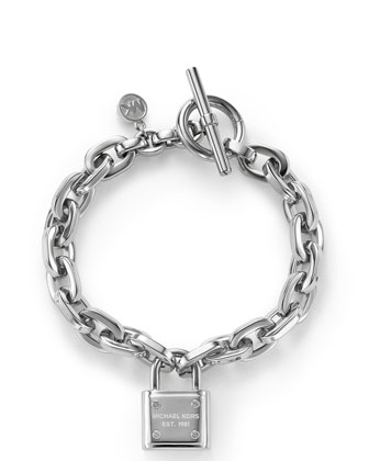 Padlock Toggle Bracelet, Silver Color