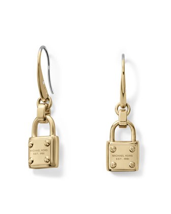 Padlock Drop Earrings, Golden