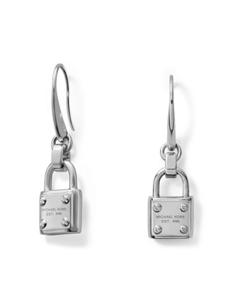 Padlock Drop Earrings, Silver Color
