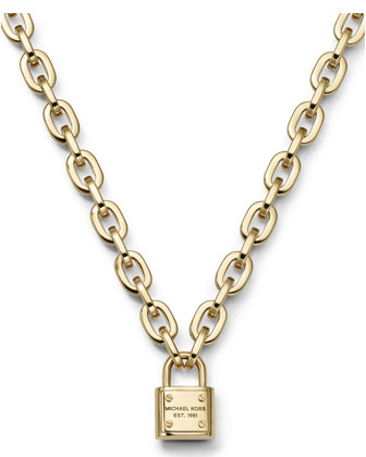 Padlock Toggle Necklace, Golden
