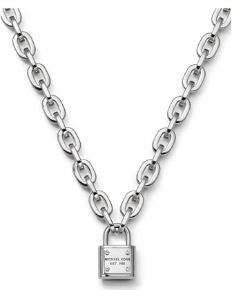 Padlock Toggle Necklace, Silver Color