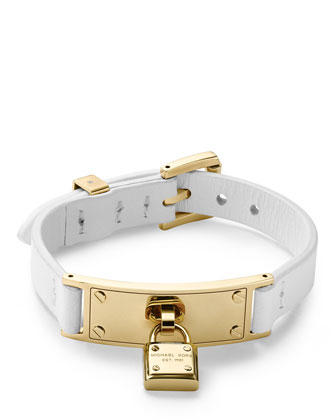 Leather Belt Bracelet, White/Golden