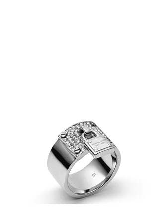 Padlock Plaque Ring, Silver Color