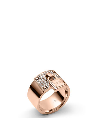 Padlock Plaque Ring, Rose Golden