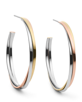 Stack Whisper Hoop Earrings, Tri-Tone