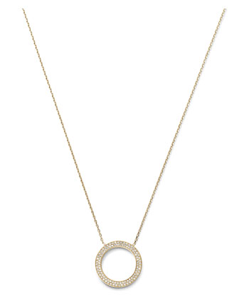 Pave Circle Pendant Necklace, Golden