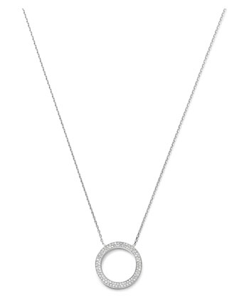 Pave Circle Pendant Necklace, Silver Color