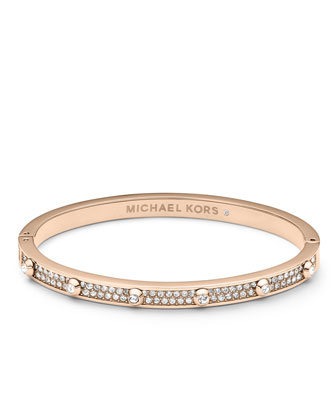 Pave Astor Bangle, Rose Golden